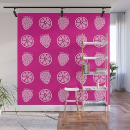 Tropical exotic distressed grapefruit slices and sweet red strawberries summer fruity fuchsia pink cute pattern design. Wall Mural