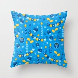 Happy Hanukkah Banner Pattern Throw Pillow
