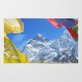 Summit of mount Everest or Chomolungma - highest mountain in the world, view from Kala Patthar,Nepal Rug
