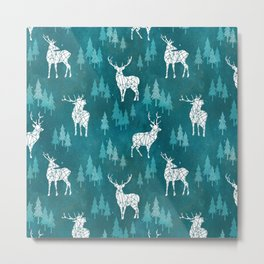 Ice Forest Deer Turquoise Metal Print