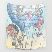 hot air balloon Wall Tapestries featuring Hot air balloon party by Dreamy Me