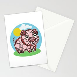 Piggy Piggy Oink Oink - Cute Pig - Abstract Shapes Stationery Cards