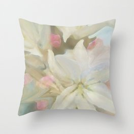Dawns Flowers Throw Pillow