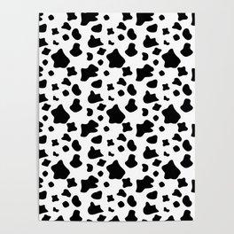 Cow skin, animal fur print, black and white pattern Poster