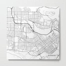 Burnaby Map, Canada - Black and White Metal Print