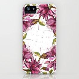 Pink Watercolour Magnolias Circle iPhone Case