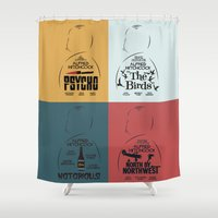 posters Shower Curtains featuring Four Hitchcock Movie Posters in One (Psycho, The Birds, North by Northwest, Notorious) by Stefanoreves