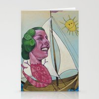 sailing Stationery Cards featuring Sailing by busymockingbird