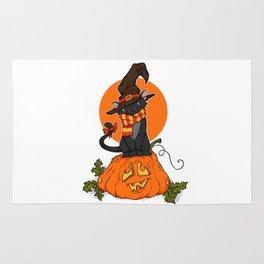 Witch Cat on Pumpkin Head Rug