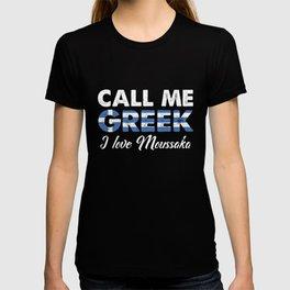 Call Me Greek I Love Moussaka   Distressed Foodie Favorite Food Vintage Gift Idea T-shirt