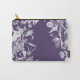 Stardust Violet Indigo Floral Motif Carry-All Pouch