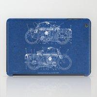blueprint iPad Cases featuring Motorcycle blueprint by marcusmelton