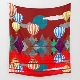 Hot Air Balloon Reflections Over Red Sea Wall Tapestry