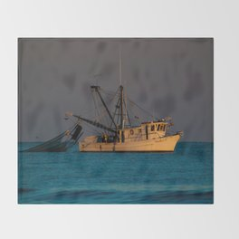 Tucker J fishing boat Throw Blanket