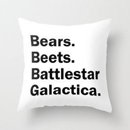 Bears Beets Battlestar Galactica Throw Pillow