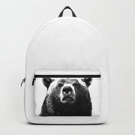 Black and white bear portrait Backpack