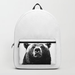 Black and white bear portrait Backpack