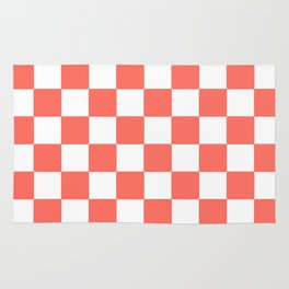 LIVING CORAL WITH WHITE CHECKS Rug