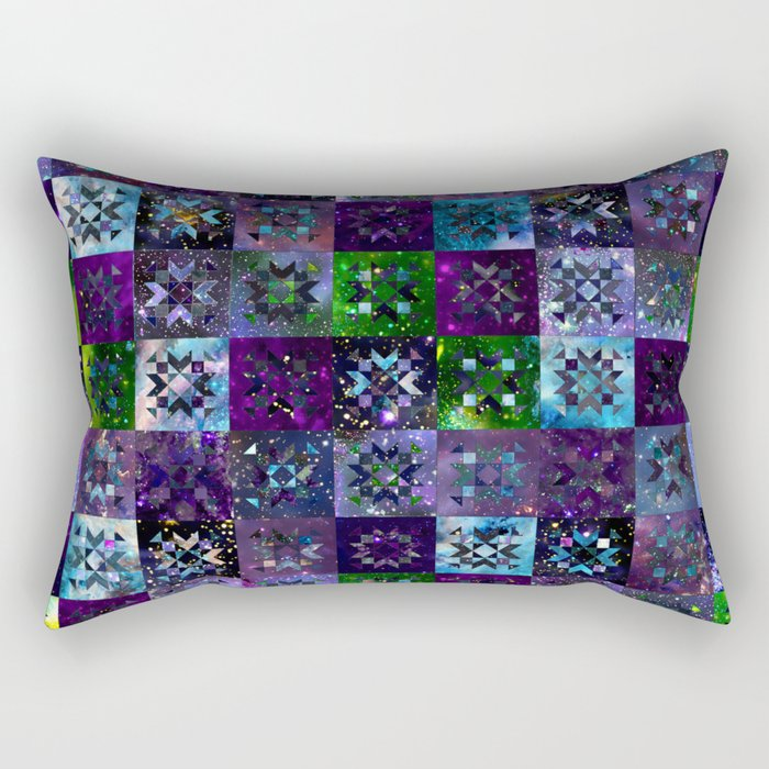 Cool Colors Galaxy Quilt Pattern Rectangular Pillow