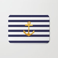 Marine pattern- blue white striped with golden anchor Bath Mat