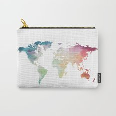 Painted World Map Carry-All Pouch