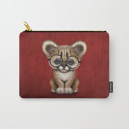Cute Cougar Cub Wearing Reading Glasses on Red Carry-All Pouch