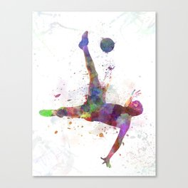 man soccer football player flying kicking Canvas Print