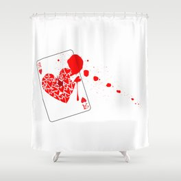 Ace of Hearts With Blood Shower Curtain