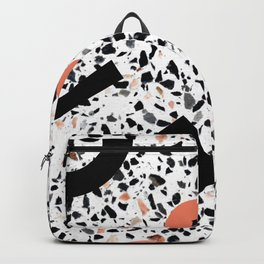 Terrazzo Stone Pattern Memphis Style Orange and Black Backpack