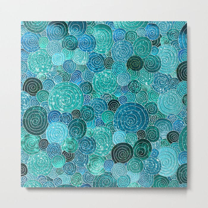 Abstract blue& green glamour glitter circles and dots for Girls and ladies Metal Print
