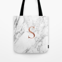 Monogram rose gold marble S Tote Bag