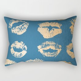 Metallic Gold Lips in Orange Sherbet and Saltwater Taffy Teal Shimmer Rectangular Pillow
