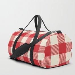 Buffalo Plaid Rustic Lumberjack Red and White Check Pattern Duffle Bag