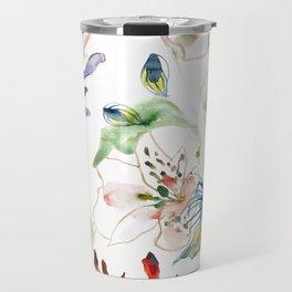 Loose lilies and blue flowers Travel Mug