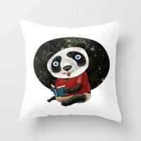 red panda Throw Pillows featuring Panda by gunberk