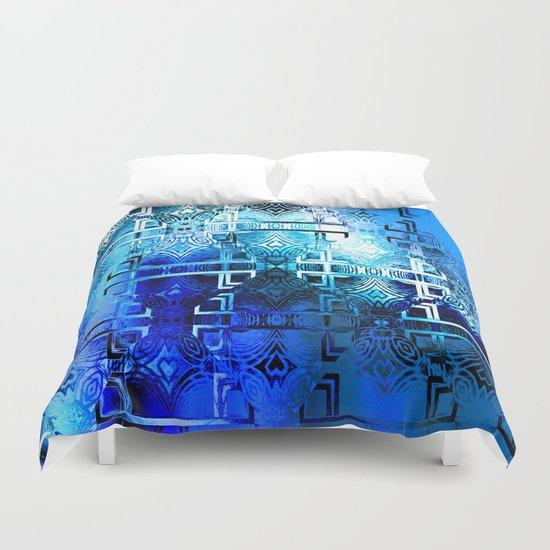 1001 Lights Pattern (azure-lapis-sky) Duvet Cover