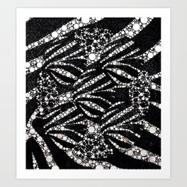 Black&Silver Abstract Bling Pattern  Art Print
