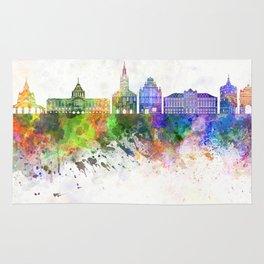 Szczecin skyline in watercolor background Rug