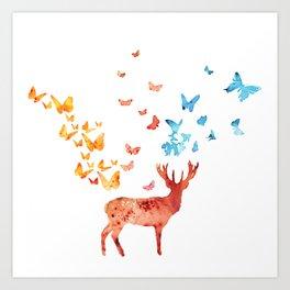 Deer and Butterflies Art Print