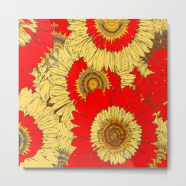 Abstracted  Red Yellow Art Deco Sunflowers Metal Print