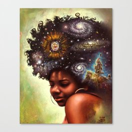 Black woman with the universe in her hair - titled: The Universe Within US Canvas Print