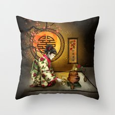 Camellia Tea Throw Pillow