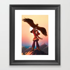 Mongolian Huntress with her Eagle Framed Art Print