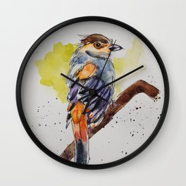 Silver-breasted Broadbill - in watercolor Wall Clock