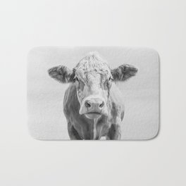 Animal Photography | Cow Portrait Minimalism | Farm animals | black and white Bath Mat