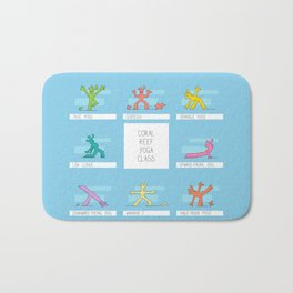 Funny corals practicing yoga Bath Mat