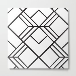 Geometrical modern black abstract diamond stripes pattern Metal Print