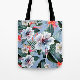Hawaii, tropical hibiscus vintage style blue dream palm leaves Tote Bag