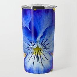"""Blue Ribbon Beauty"" Pansy Art Abstract Design Travel Mug"