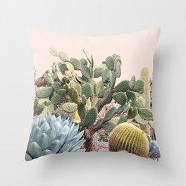 Vintage Desert Cactus Garden Throw Pillow